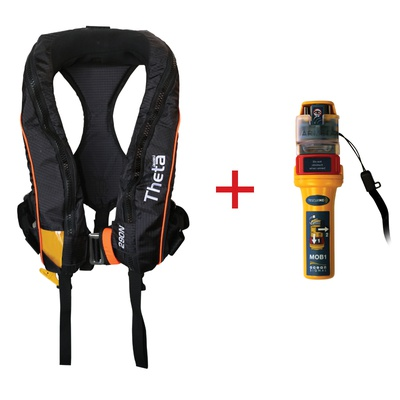 Theta Inflatable Lifejacket Auto, 290N, ISO 12402-2 with Ocean Signal MOB1, set